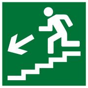 Пленка Плёнка (Е-14) направление к эвакуационному выходу по лестнице вниз (налево) (200х200)