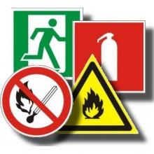 Знаки безопасности на пленке наклеенной на пластик фотолюминесцентные Пластик фотолюм в ассортименте