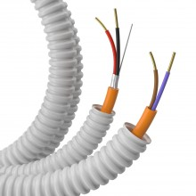 Гофрошланг с кабелем Труба ПВХ легкая серая D=20 + КПСнг(А)-FRLS 1х2х0,5 (100м)