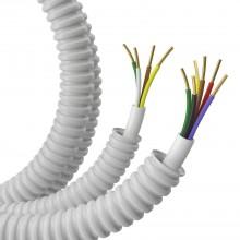 Гофрошланг с кабелем Труба ПВХ легкая серая D=16 + КСПВ 4х0,5 (100м)