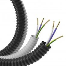 Гофрошланг с кабелем Труба ПВХ легкая серая D=16 + ПуВ 3х1,5 (ГОСТ) (100м)